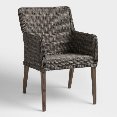 Gray All Weather Wicker Borgia Outdoor Dining Chair | World Mark