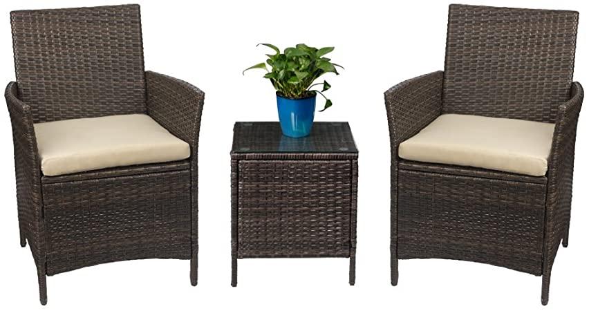 Amazon.com: Devoko Patio Porch Furniture Sets 3 Pieces PE Rattan .
