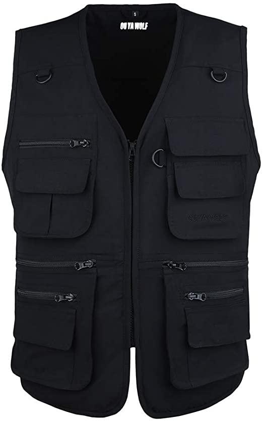 OU YA WOLF Men's Outdoor Vests Multi-Pockets Work Lightweight .