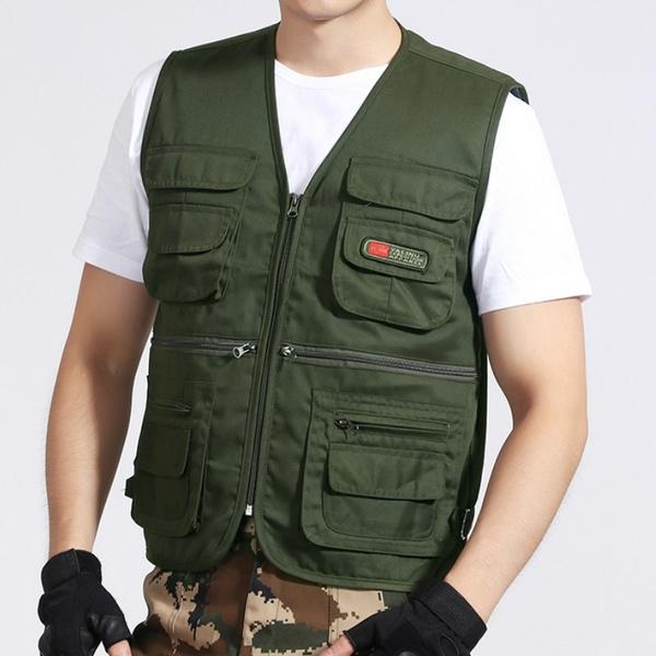 Men Multi Pocket Vest Solid Color Outdoor Vests Casual Waistcoat .