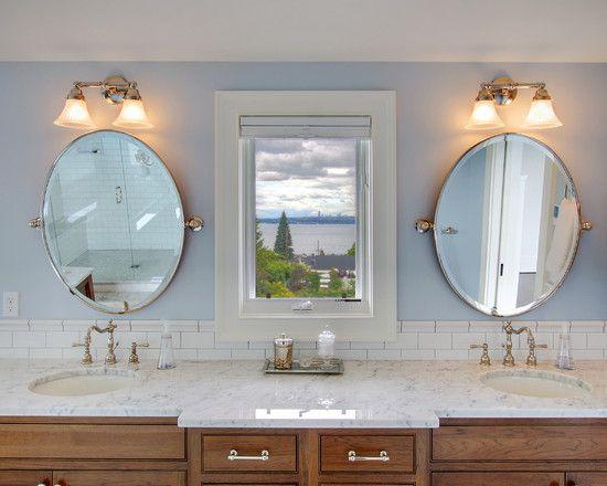 "Bathroom ""oval Mirrors"" + Sconces Design, Pictures, Remodel, Decor ."