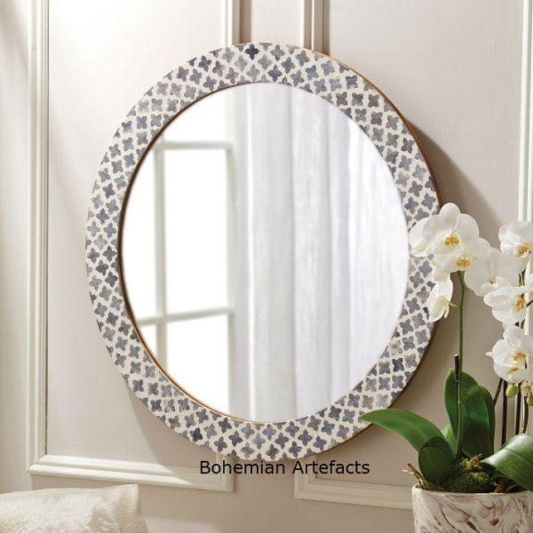 Bone Inlay Oval Shape Geometric Design Mirror - Bohemain Artefacts .