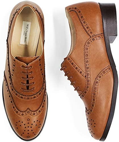 Amazon.com | Will's Vegan Shoes Womens Oxford Brogues Tan | Boo