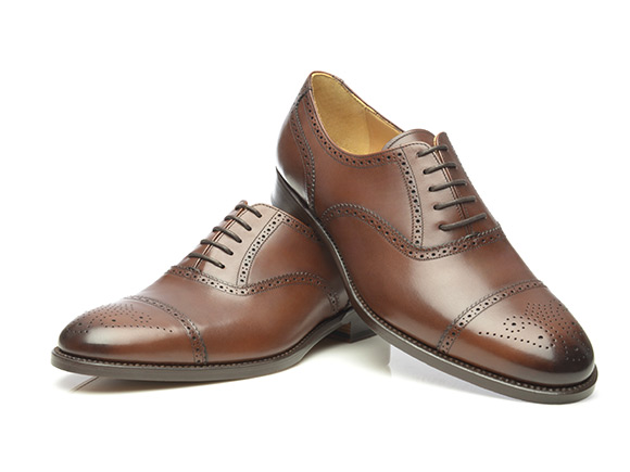 SHOEPASSION.com – Goodyear-welted half-brogue Oxford in dark bro