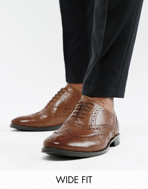 ASOS DESIGN Wide Fit oxford brogue shoes in tan leather | AS