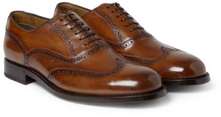 Brioni Polished Leather Oxford Brogues, $1,155 | MR PORTER .