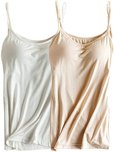 Womens Modal Built-in Bra Padded Camisole Yoga Tanks Tops at .