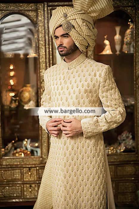 Cream Embroidered Sherwani for Mens Pakistani Designer Sherwani .