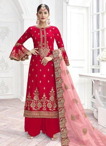 Rani Pashmina Wedding Wear Palazzo Salwar Suits, Age: Adults .