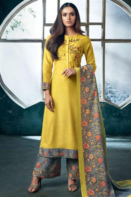 Wholesale Catalogue Of Ethnic Embroidered Palazzo Salwar Suits .
