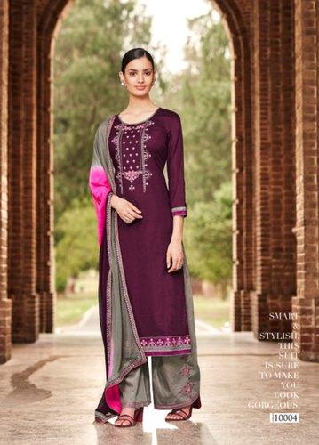 Unstitched Ladies Designer Pure Cotton Palazzo Salwar Suit, Rs 649 .