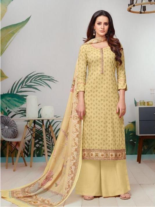 Siya Fashion Designer Light Yellow Color Pure Cotton Palazzo .