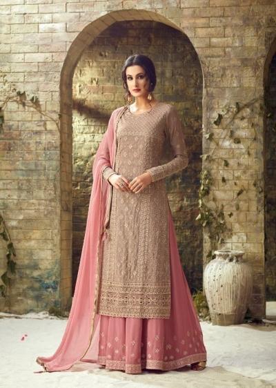 Grey pink heavy embroidered palazzo salwar kameez 530