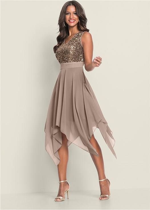 Sequin Detail Party Dress in Taupe | VEN