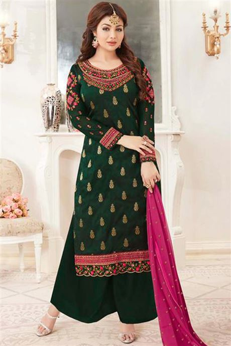 Wholesale Catalog Of Salwar Kameez Palazzo Style Embroidered Semi .