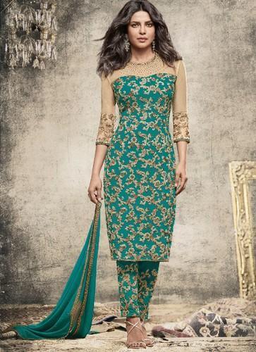 Cotton Bottle Green and Beige Color Party Wear Designer Salwar .