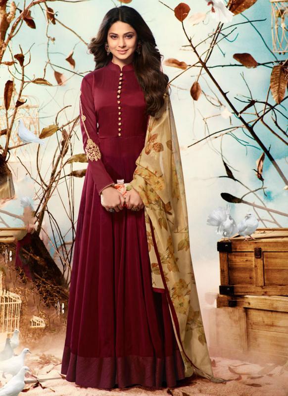Phenomenal Maroon Georgette Designer Party Wear Salwar Suit .