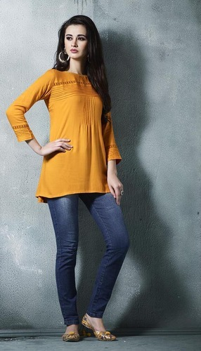 Yellow Party Wear Tunic Top, Rs 425 /piece Kessi Fabrics Private .