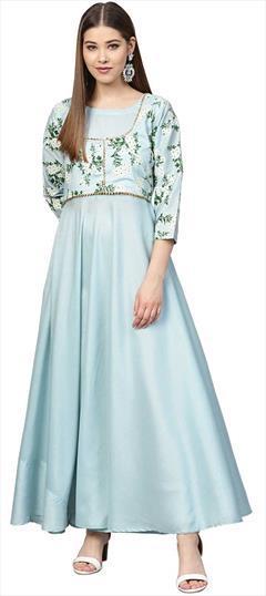 Party Wear - Blue - Poly Silk - Tunics: Shop online Tuni