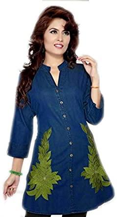 Jayayamala Ladies Cotton Fabric Blue 3/4 Sleeve Party Wear Tunic .