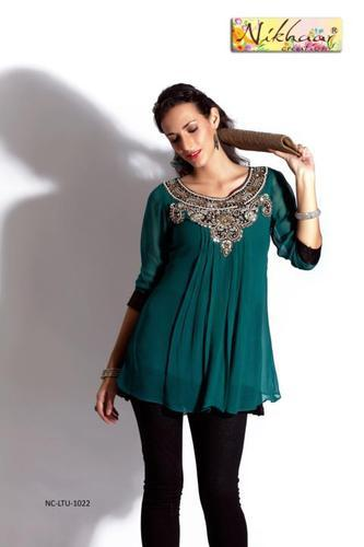 Green Traditional Designer Party Wear Tunic Kurti, Rs 1819 /piece .