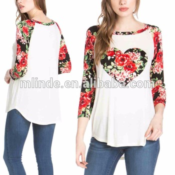 Oyster & Black Heart Floral Hi-low Raglan Tunic Party Wear Tops .