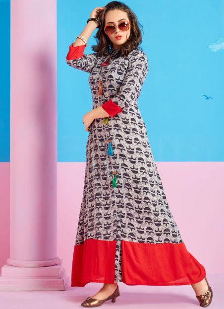 Preferable Multi Colour Print Work Rayon Party Wear Kurti .