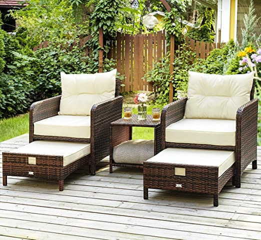 Amazon.com: PAMAPIC 5 Pieces Wicker Patio Furniture Set Outdoor .