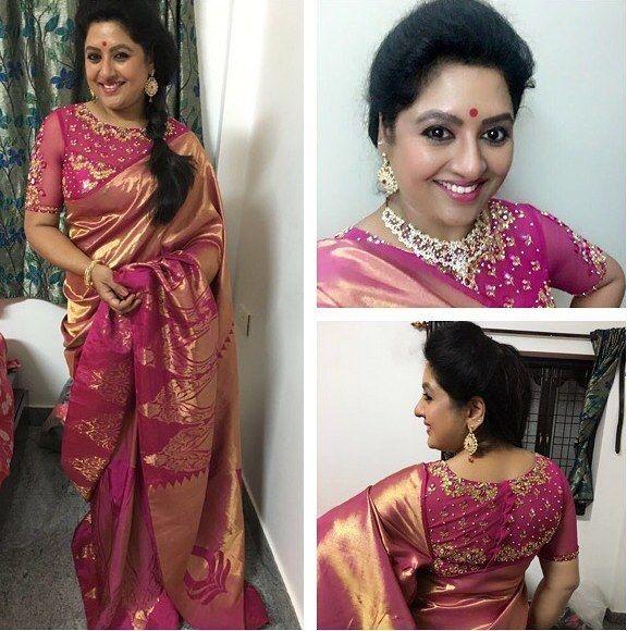 Sana Pink Silk Saree | Saree, Blouse design models, Saree blouse .