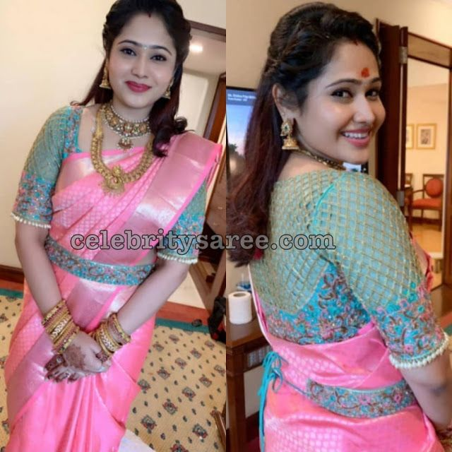Priya Atlee in Baby Pink Traditional Saree (With images) | Pink .