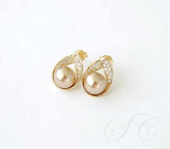 Bronze and Gold Pearl Earrings Studs Cubic Zirconia Teardrop Posts .