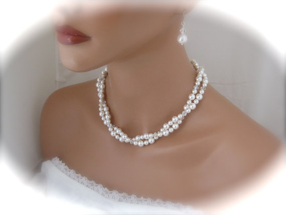 Pearl Bridal Necklace And Earrings Wedding Jewelry Set Bridesmaid .