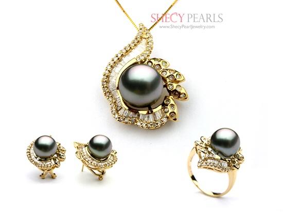 Black Cultured Tahitian Pearl Jewelry Set , 10mm~11mm , AA+ .