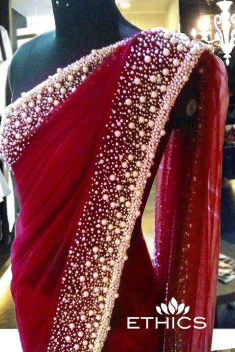 maroon Red saree with a pearl border | Indian fashion | Pinterest .