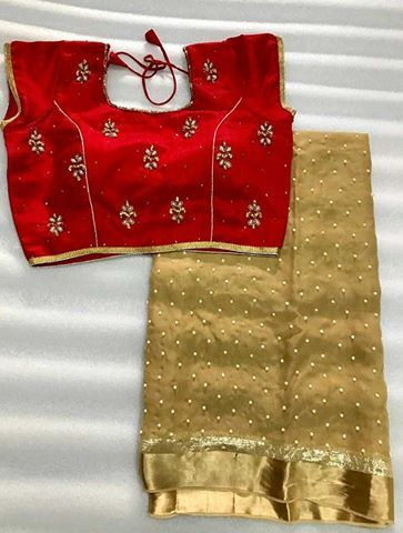 Pearl Georgette saree with stitched blouse. (With images .