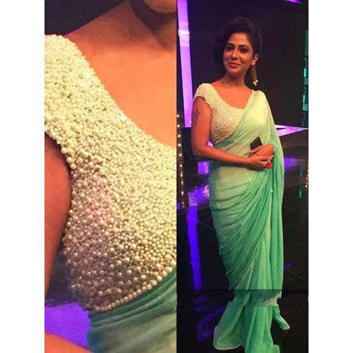 Green 5.5m Pearl Work Saree, Rs 1500 /piece R.B.S. Fabi Tech | ID .