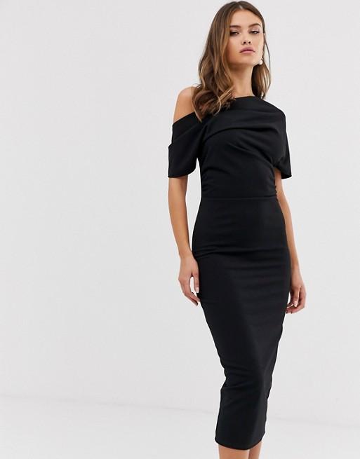 ASOS DESIGN pleated shoulder pencil dress | AS