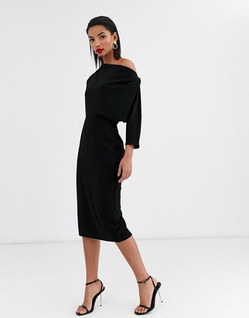 ASOS DESIGN fallen shoulder midi pencil dress in black | AS