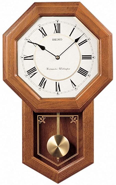 Amazon.com: Seiko Light Oak Traditional Schoolhouse Wall Clock .