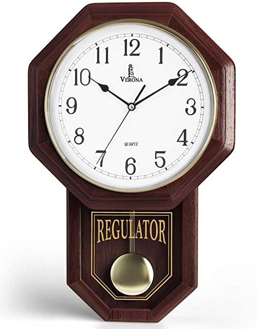 Amazon.com: Pendulum Wall Clock - Decorative Wood Wall Clock with .
