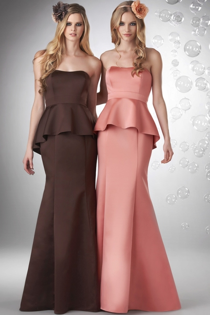 Picture Of Brown and pink strapless peplum maxi dress