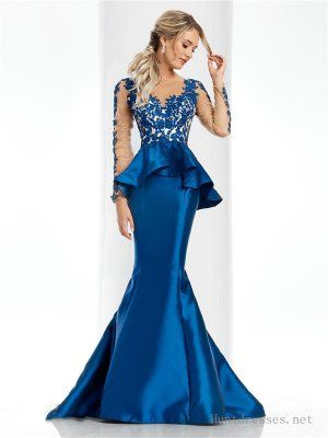 Long Sleeves Lace Peplum Mermaid Evening Dresses by Clarisse 4701 .