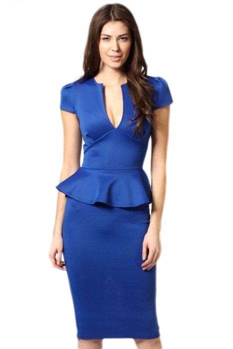 Noble V-neck Midi Peplum Dress Royalblue - STYLESIMO.c