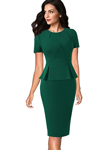 VFSHOW Womens Pleated Crew Neck Peplum Wear to Work Office Sheath .