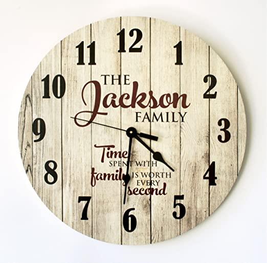"Amazon.com: Personalized Rustic Wood Print Clock 18"" Diameter ."