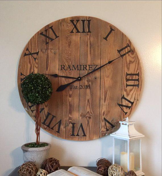 "25""/30"" - Wedding gift - Custom - Large wooden wall clock ."