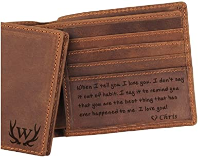 Amazon.com: 3 Choices, Custom Mens Leather Wallet, Engraved Wallet .