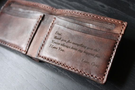 Men's Leather Wallet / Personalized Leather Wallet / Handmade .