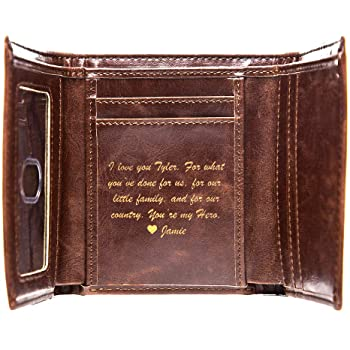 NEW Swanky Badger Personalized Wallet - Trifold Leather Wallet .