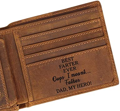 Dad's Wallets - Customize Engraved Leather Men Wallet .